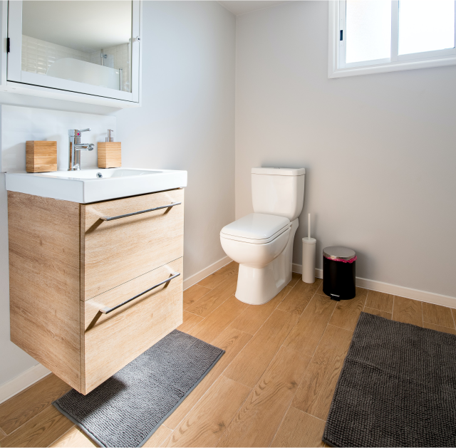 wooden furniture in the bathroom